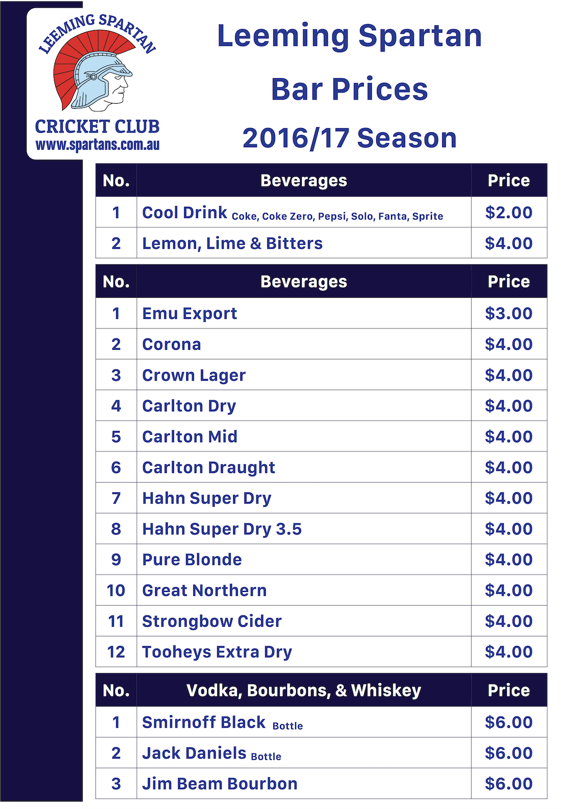 Spartan Bar Prices 2016/17