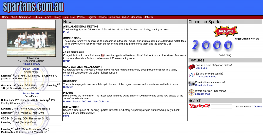 Spartan Website (April 2003)