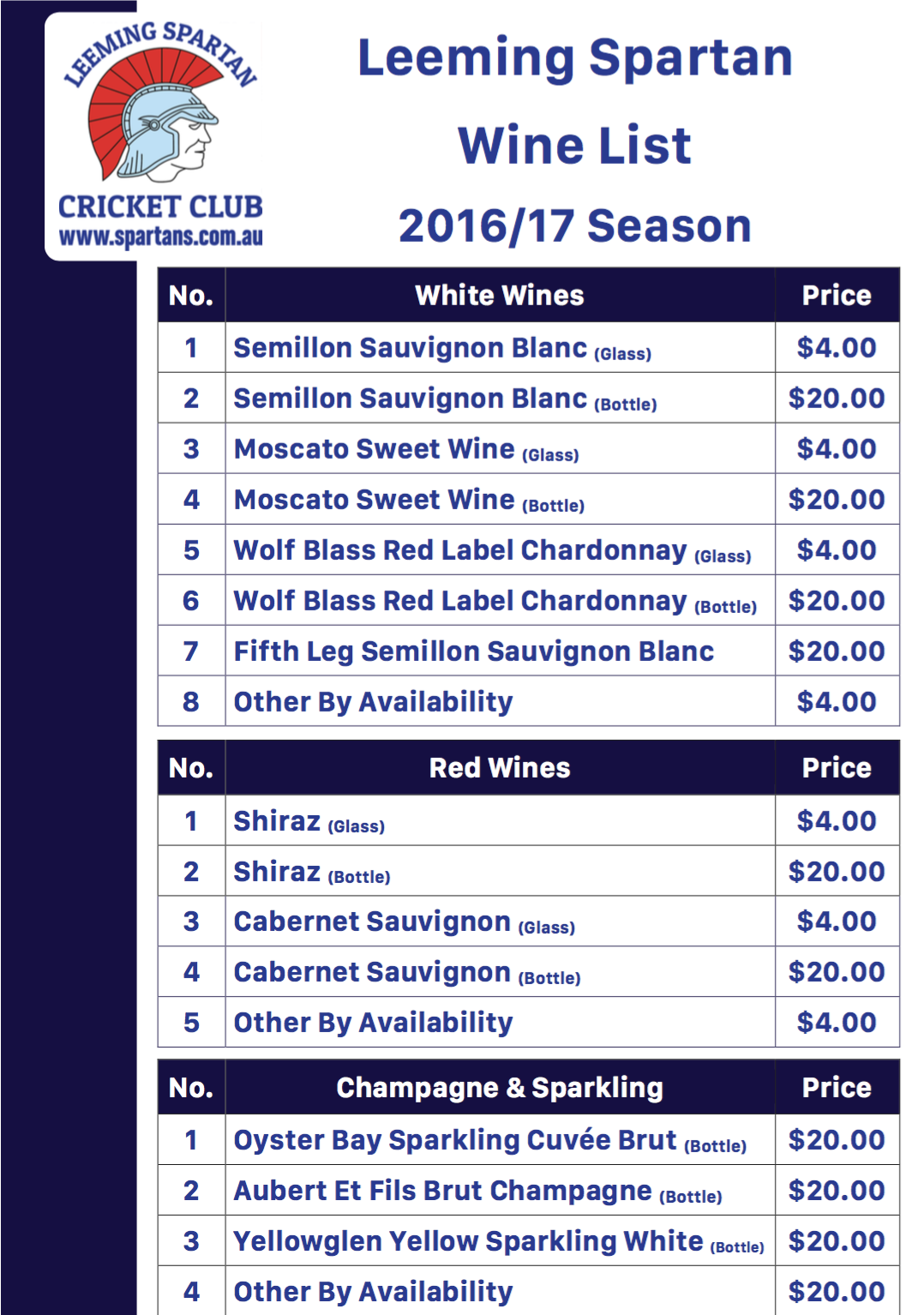 Spartan Wine List 2016/17
